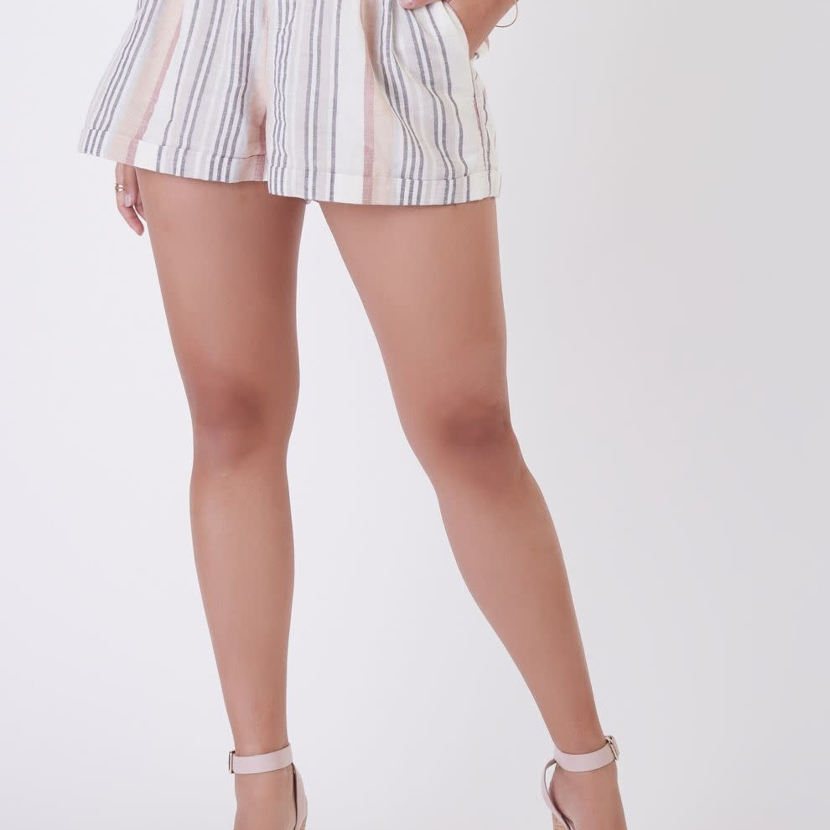 Black Tape ELASTIC BACK LINEN STRIPE SHORT