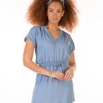 Dex SS FRAYED HEM ELASTIC WAIST DRESS