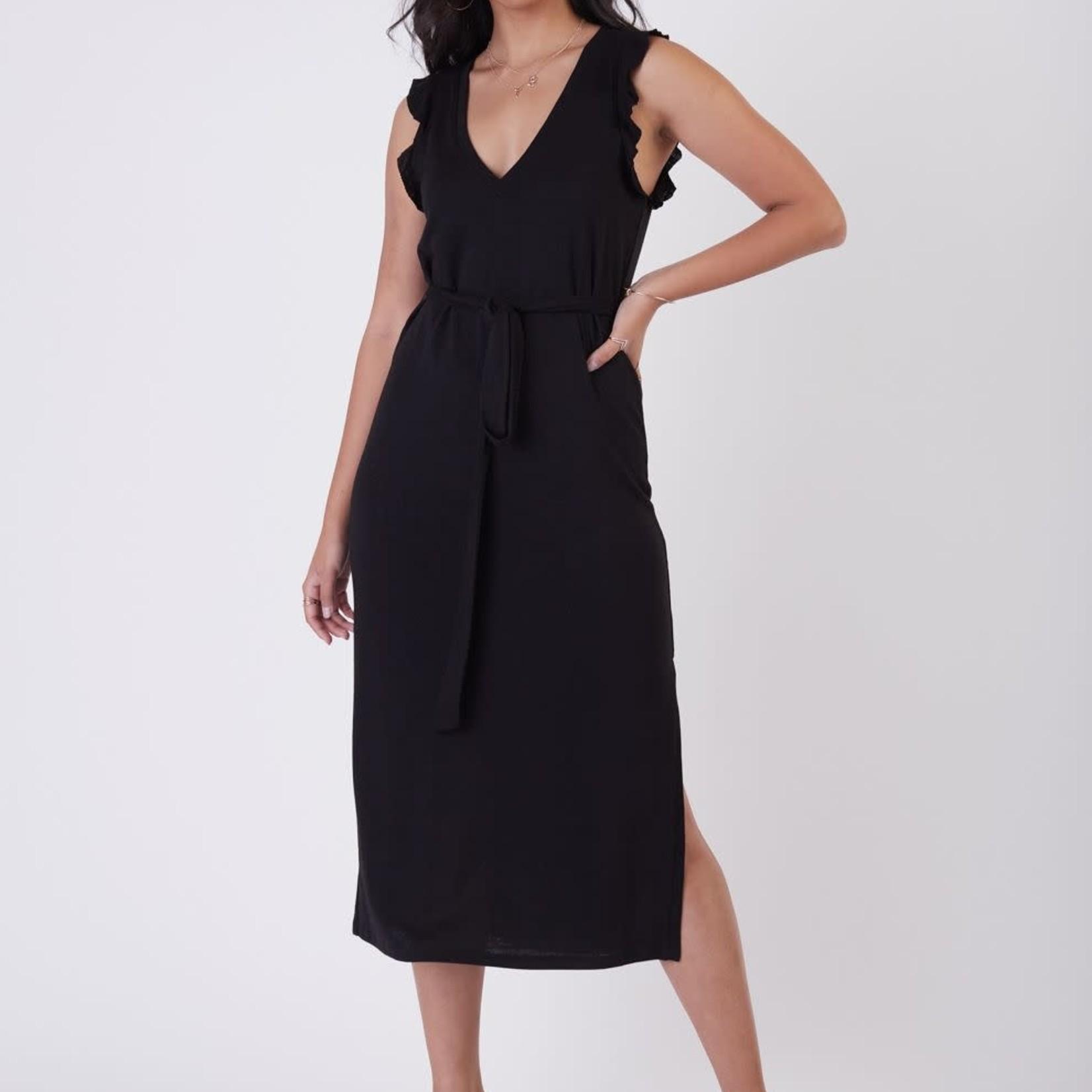 Dex SL Ruffle Detail Slub Knit Maxi Dress