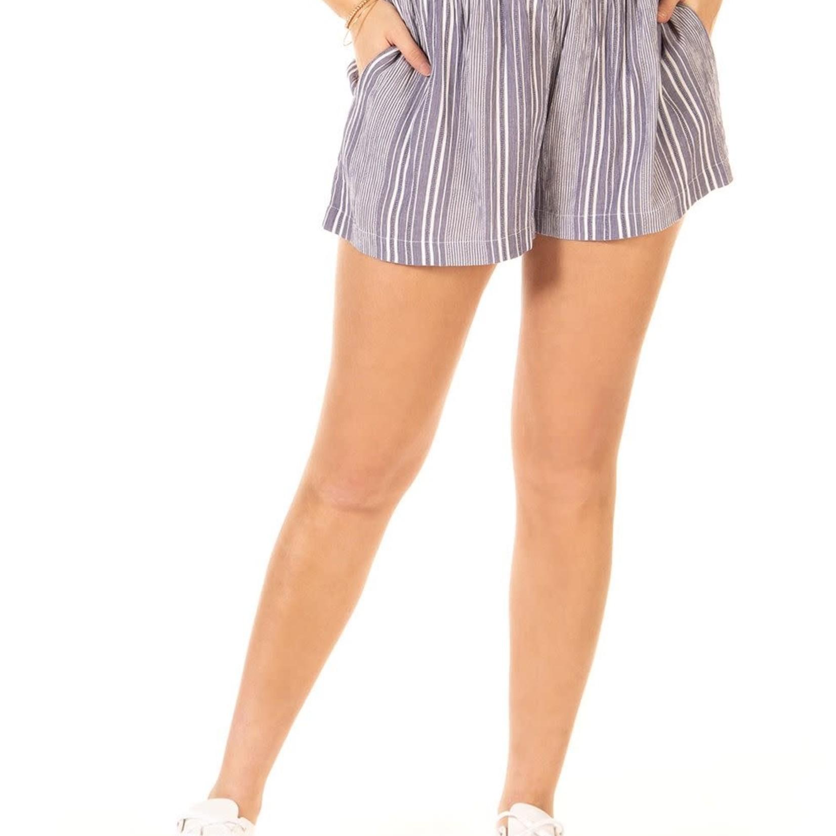 Dex Pull On Smocked Waist Striped Shorts