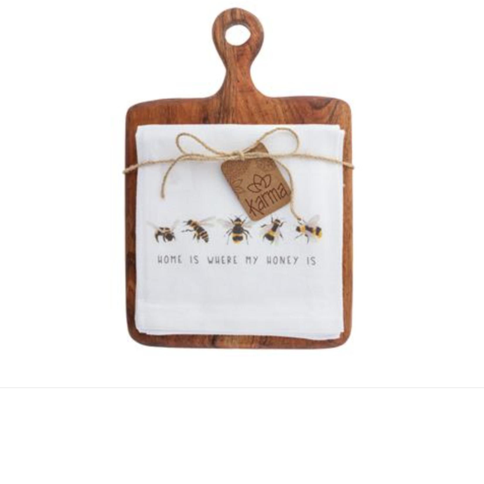 Karma Tea towel with cutting board bee