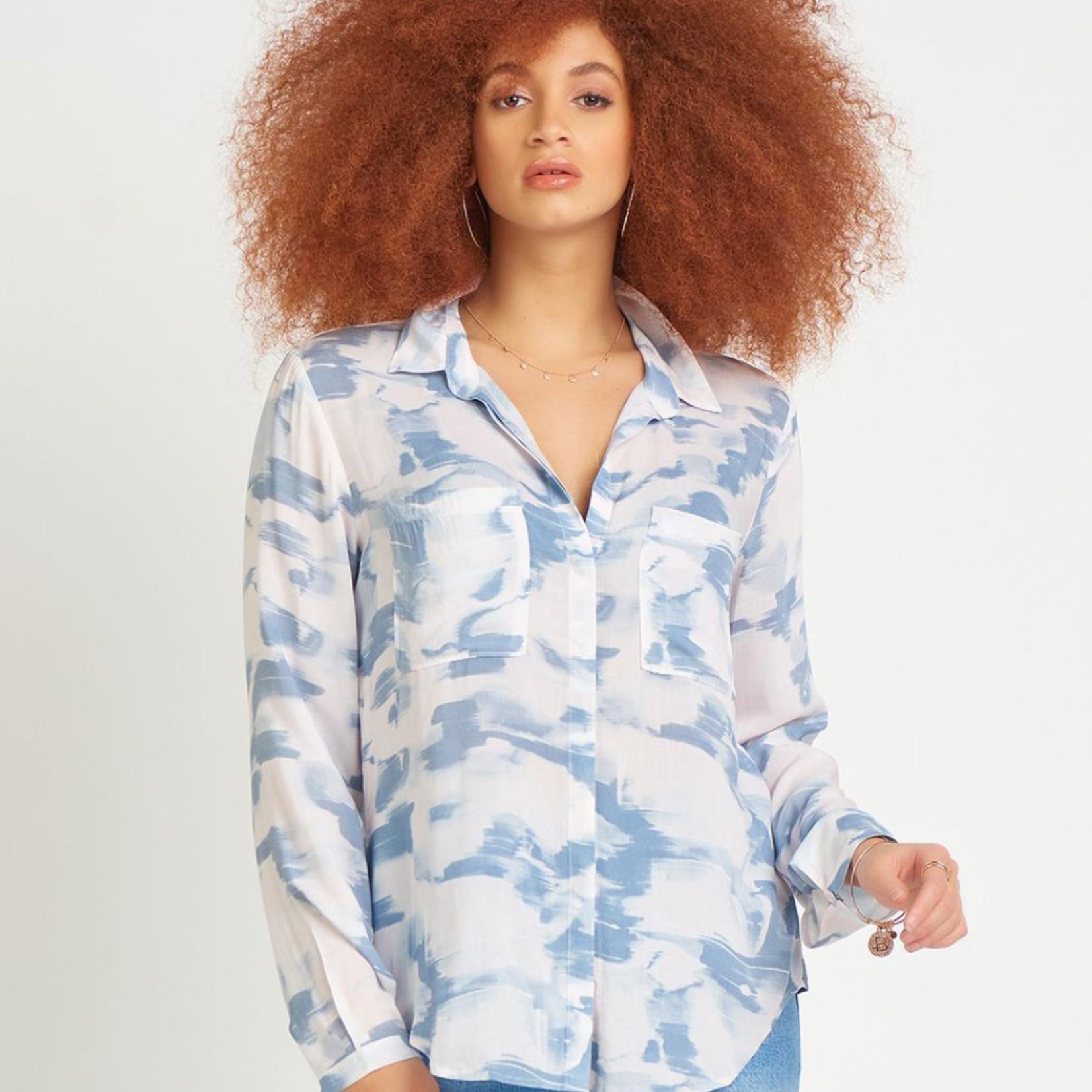 Dex LS Printed Button Front Blouse DEX CLOTHING
