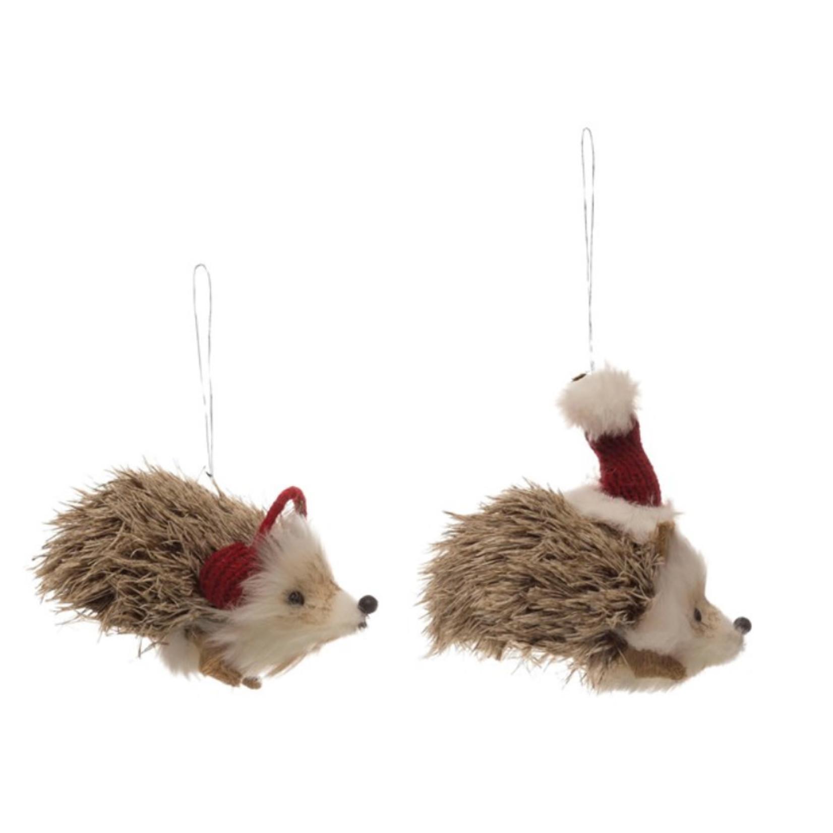 "Creative co-op 5""L Faux Fur Hedgehog Ornament, 2 Styles"