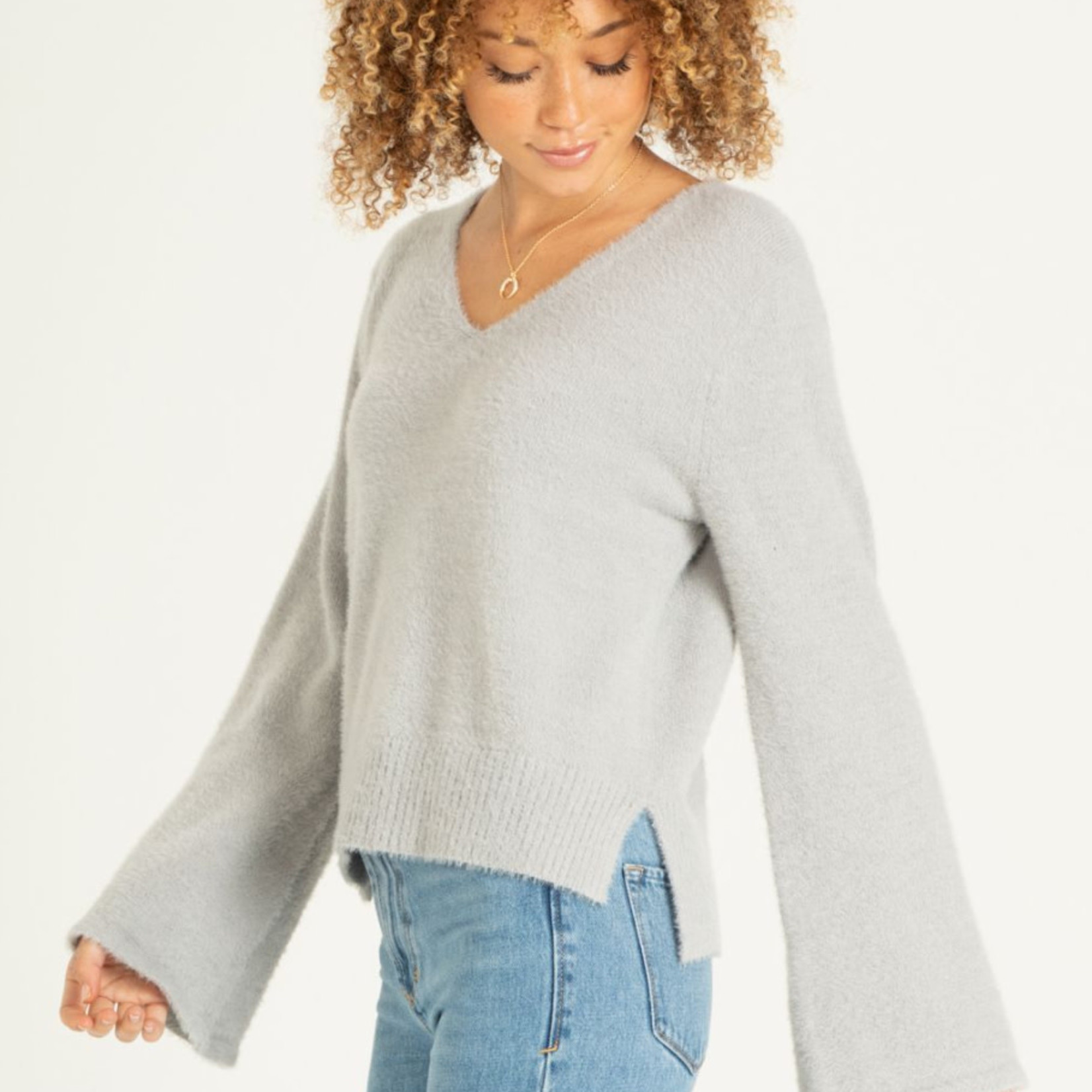 Another love V-Neck Bell Sleeve Sweater
