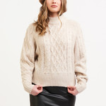 Black Tape CABLE KNIT SWEATER WITH PEARLS