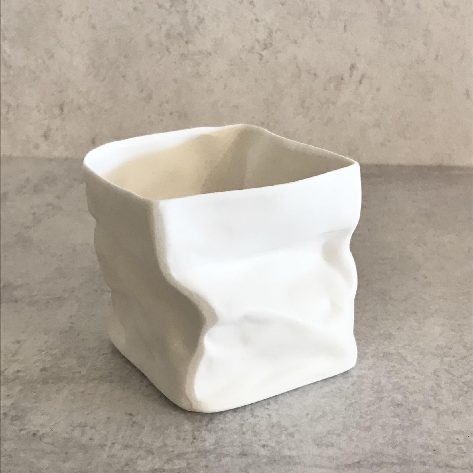 Paperbag White Vase/Holder Small
