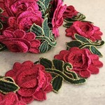 Vintage Fabric Pink-Green-Gold Border