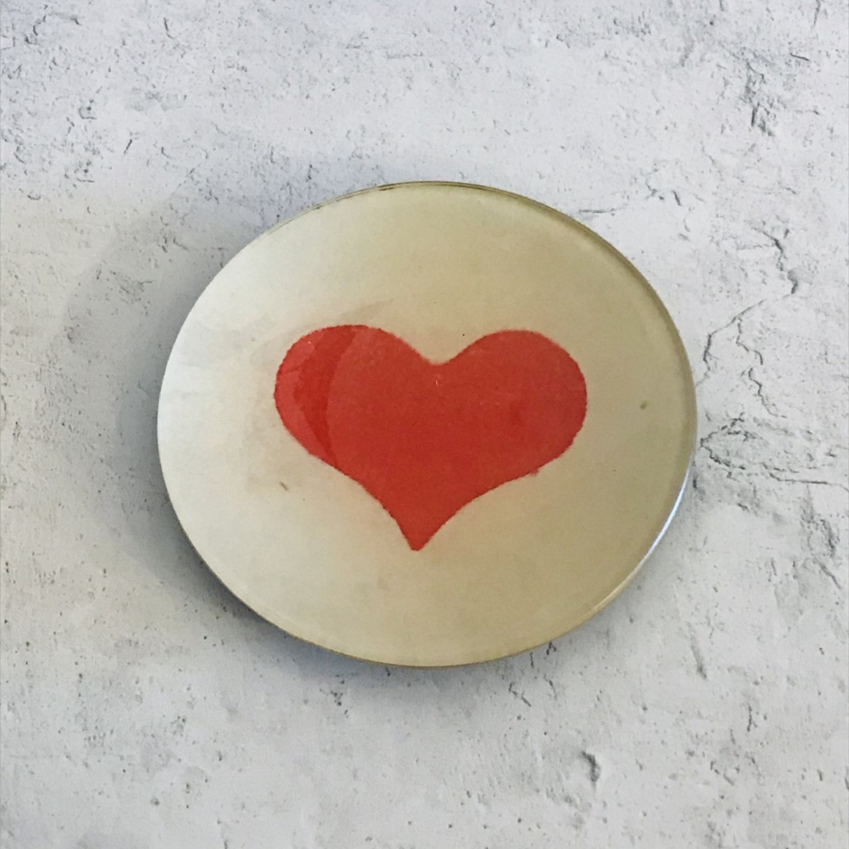 "John Derian John Derian Wide Heart 4"" Round Tray"