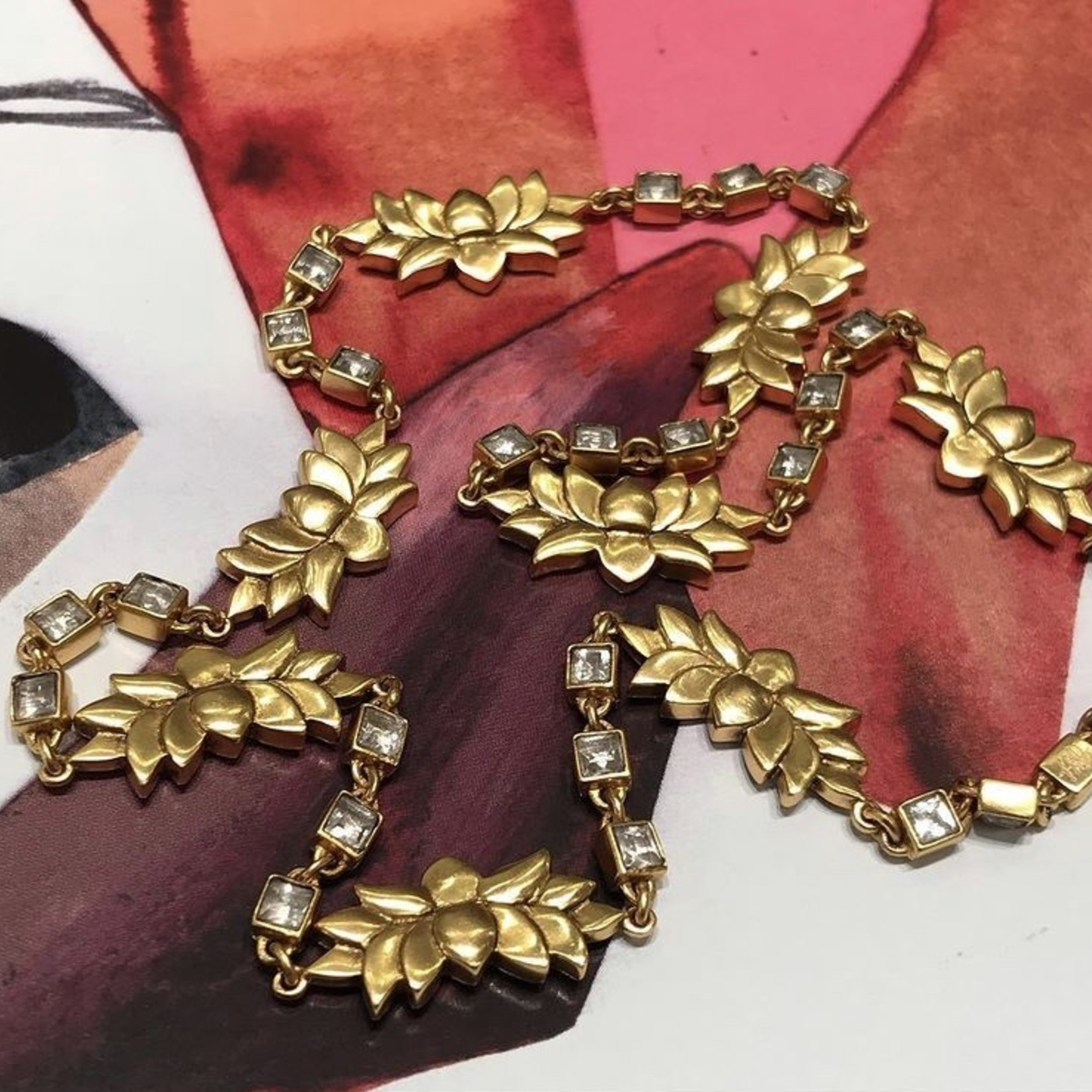 Himatsingka Jewelry Lotuspad Gold Plated Crystal Necklace