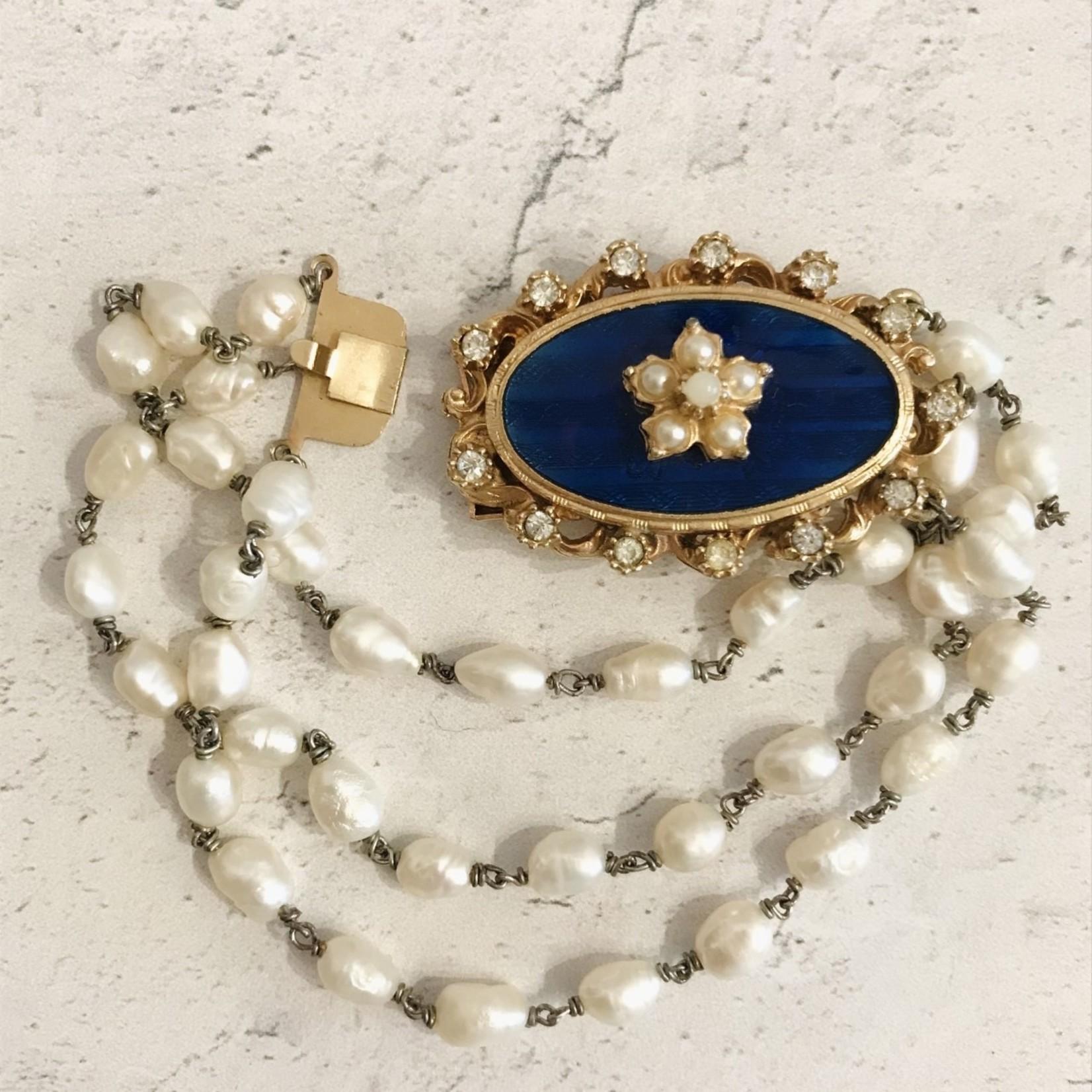 Vintage Royal Blue Guilloche Enamel+Pearls Bracelet
