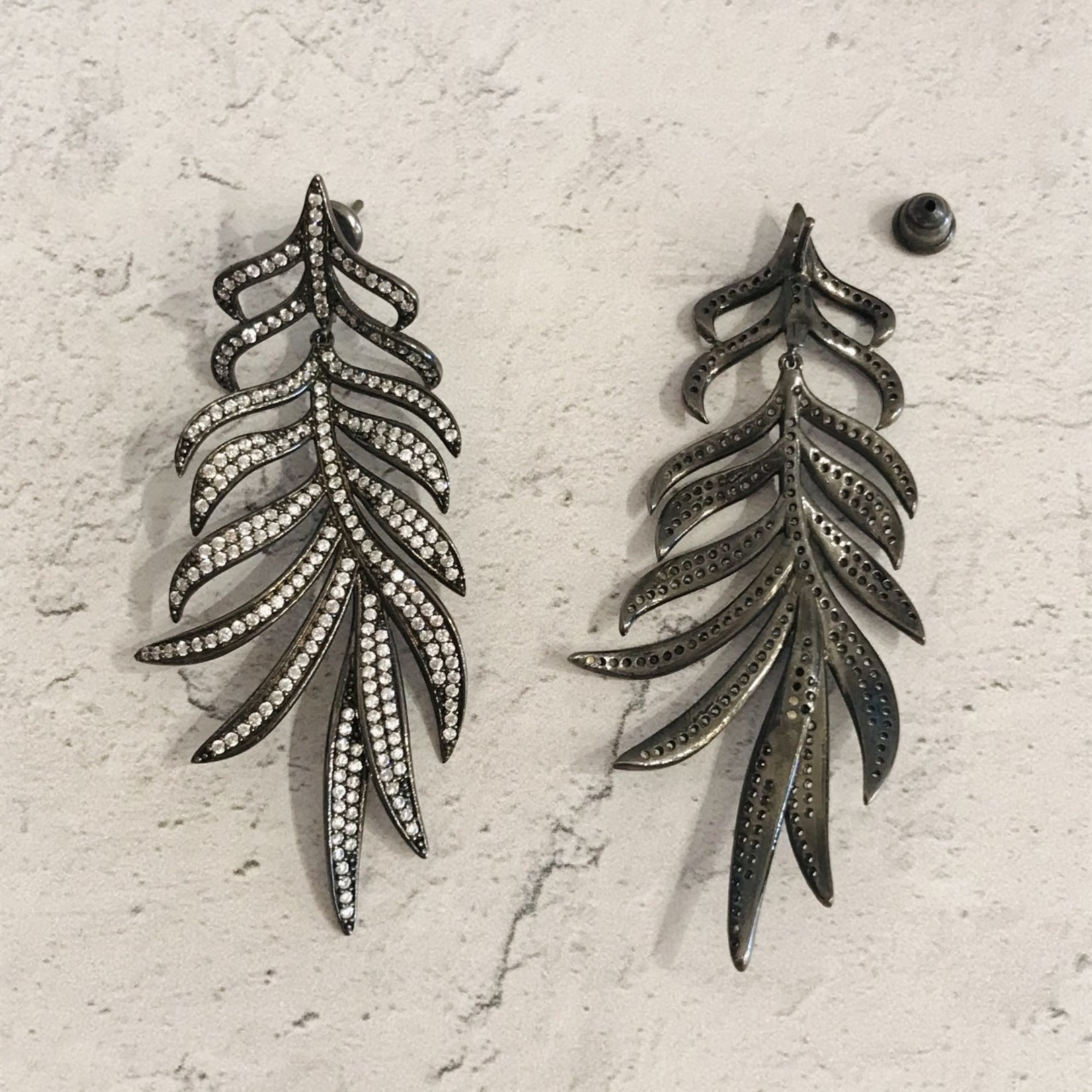Black Pave Feather Earring
