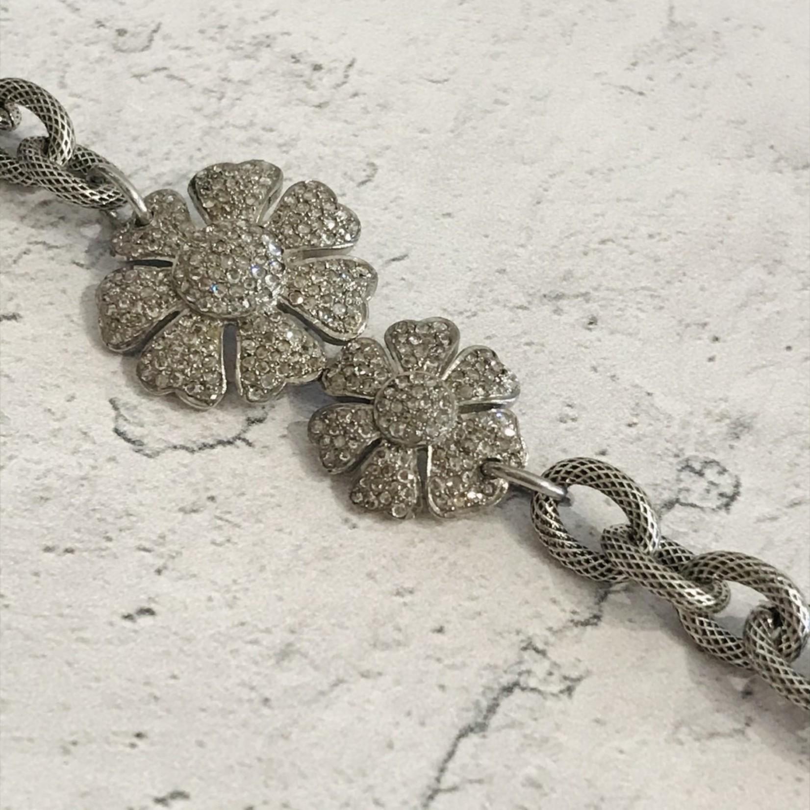 Double Flower Diamond/Sterling Bracelet
