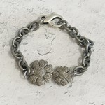 Double Flower Diamond/Sterling Bracelet