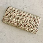 Vintage Shimmer Gota Silver-Red Ribbon