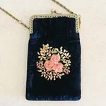Velvet+Embroidered Phone/Eyeglasses Purse
