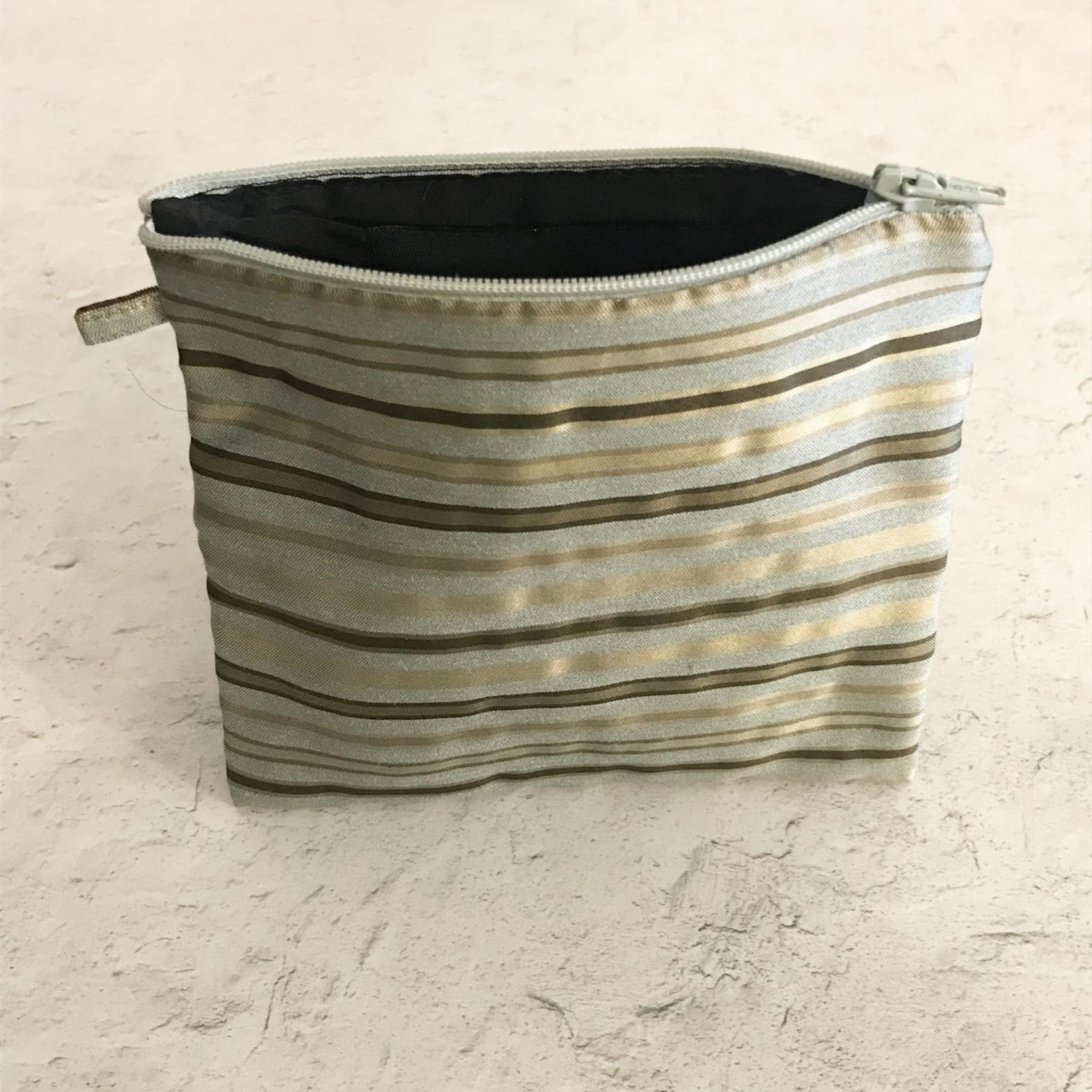 Himatsingka Himatsingka Pouch - Small-  Pale Blue and Gold Stripes