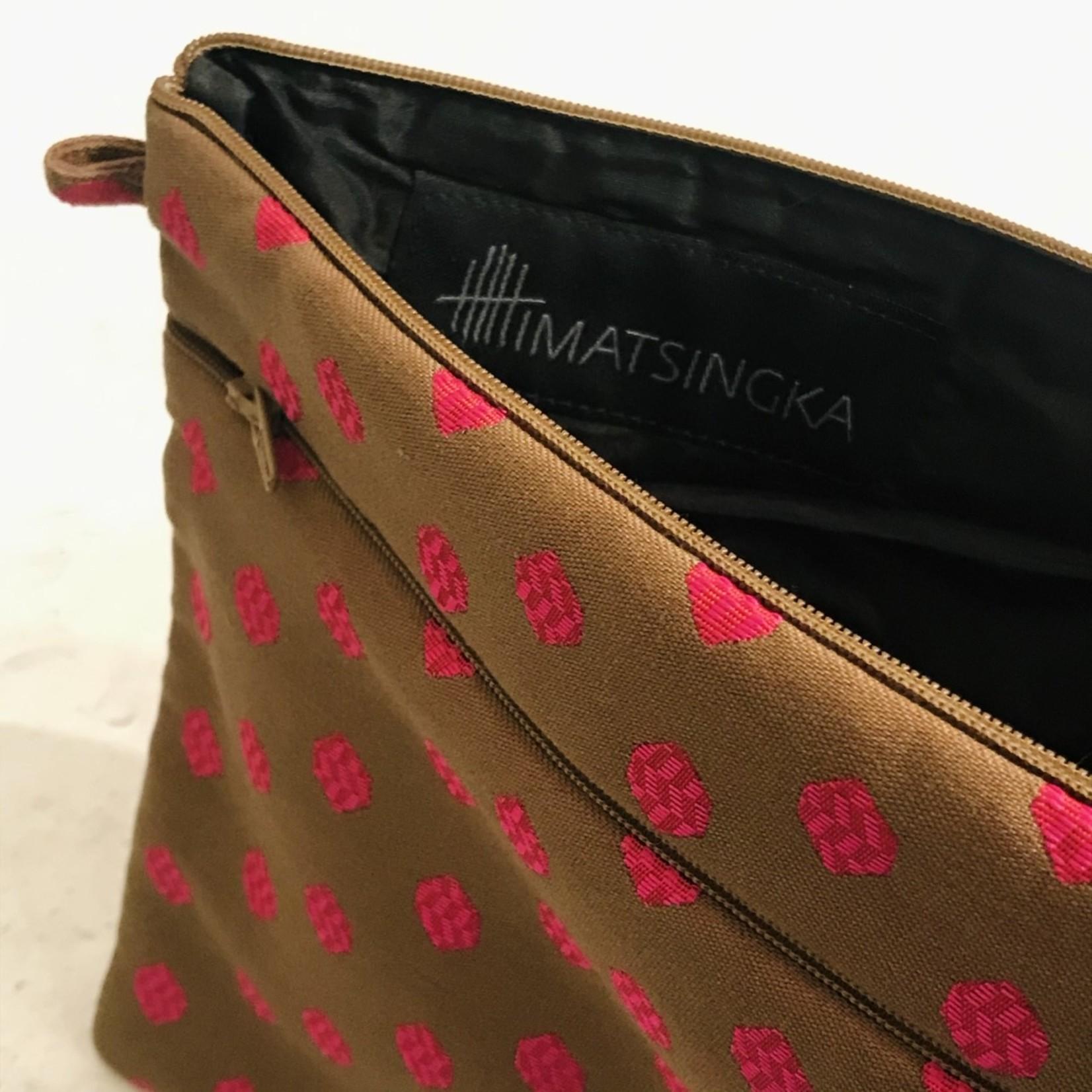 Himatsingka Himatsingka Pouch- Extra Large- Chocolate and Magenta