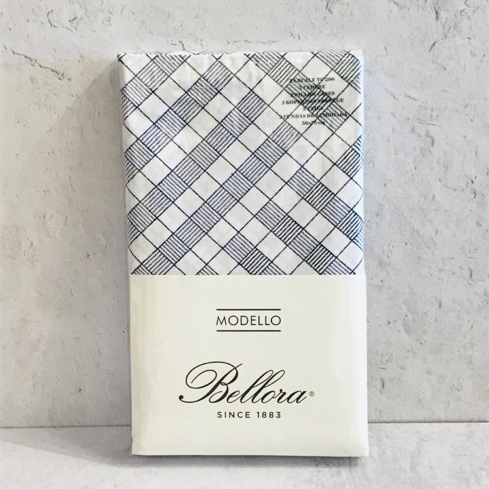 Bellora Bellora- Navy/White Stripe Check Pillowcases (Pair)