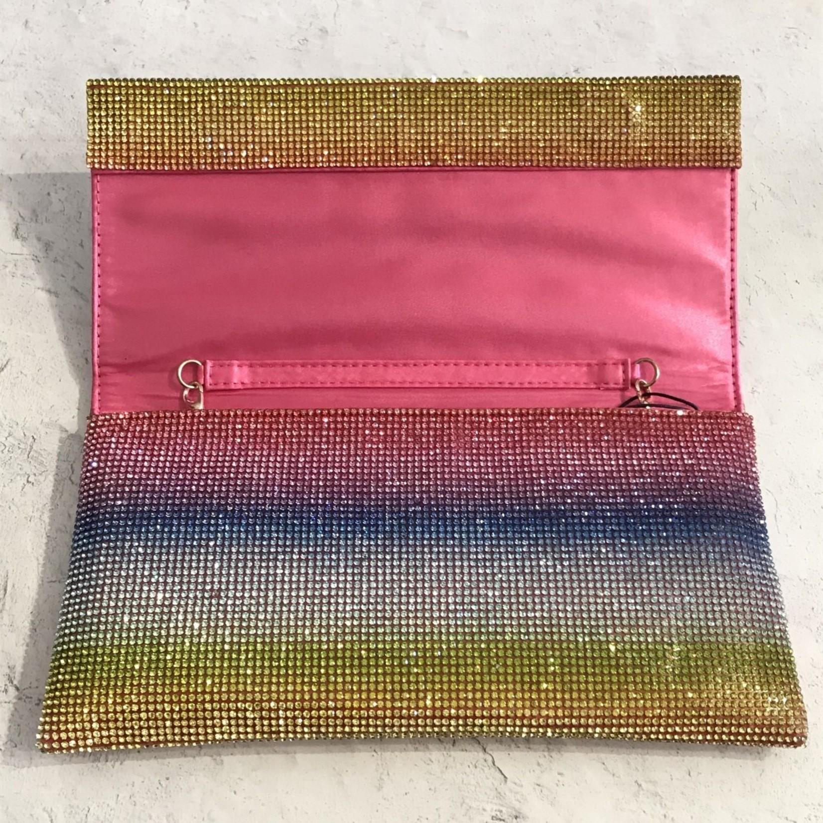 Roberts Veneto Crystal Rainbow Striped Clutch