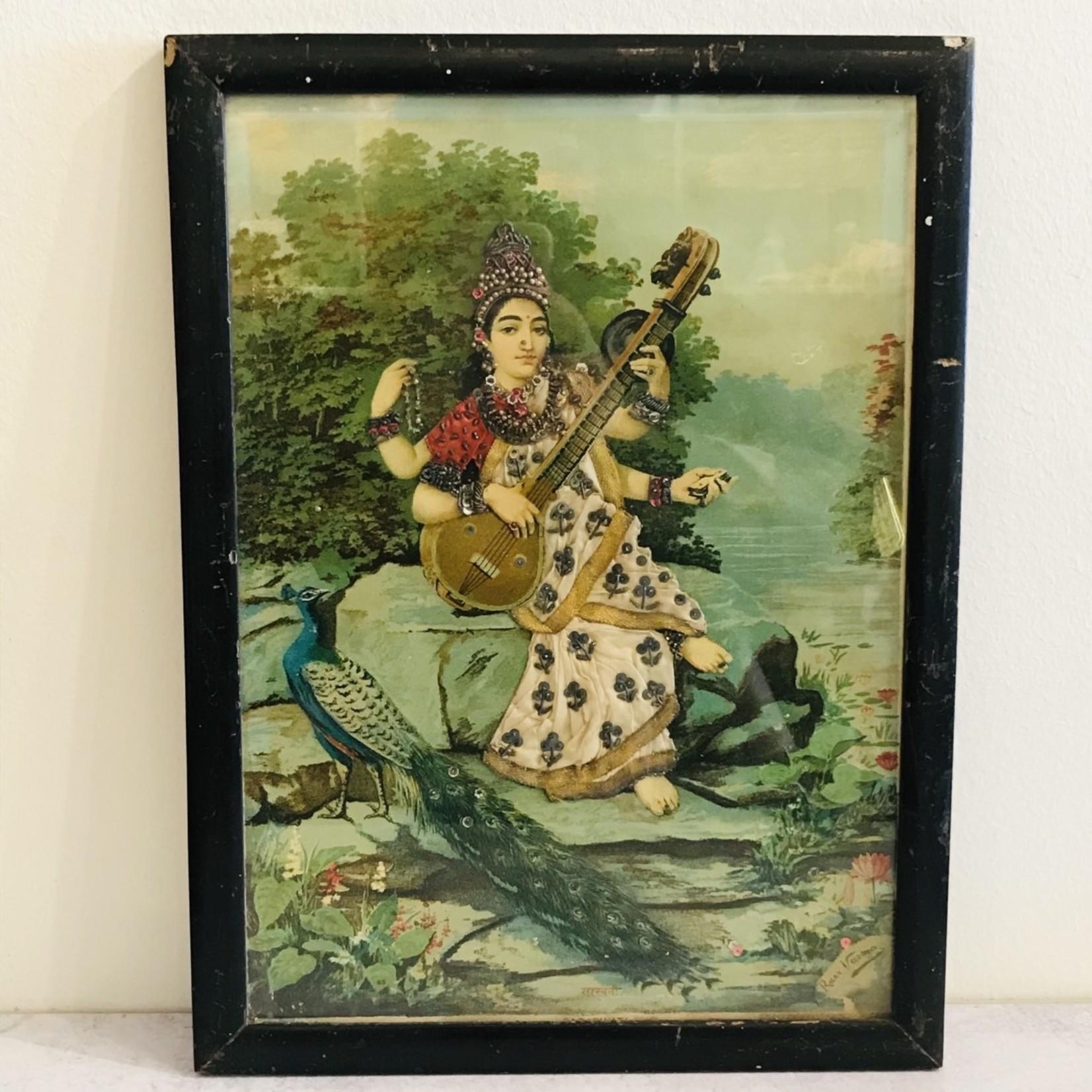 Antique Indian Print Beads--Saraswati with Veena