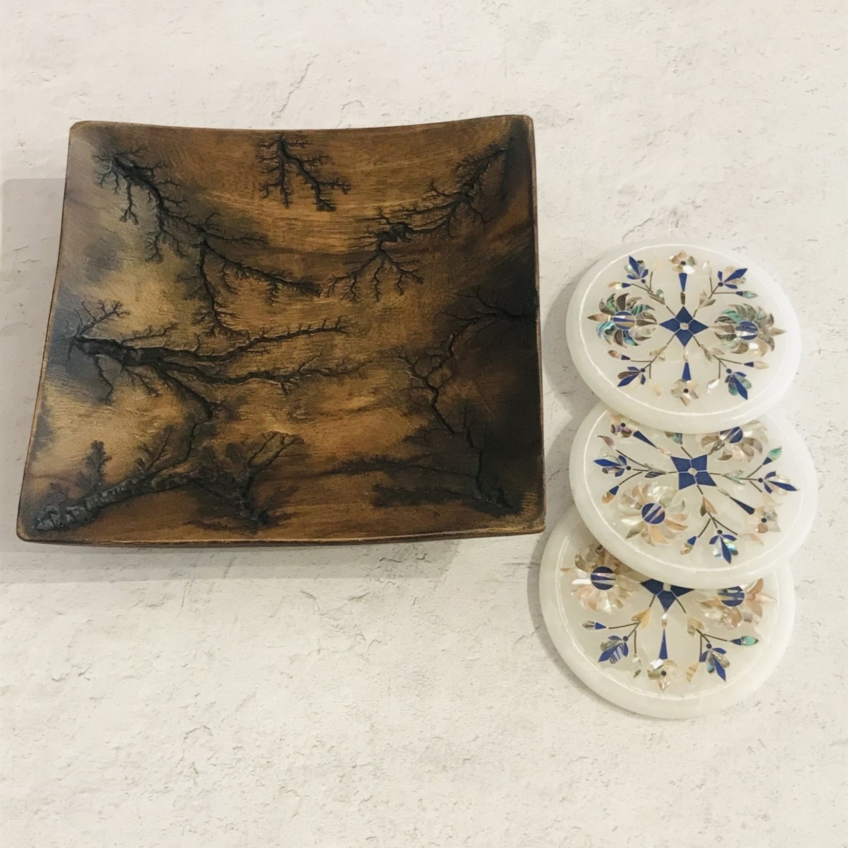 Market Round Marble with Inlay Coaster