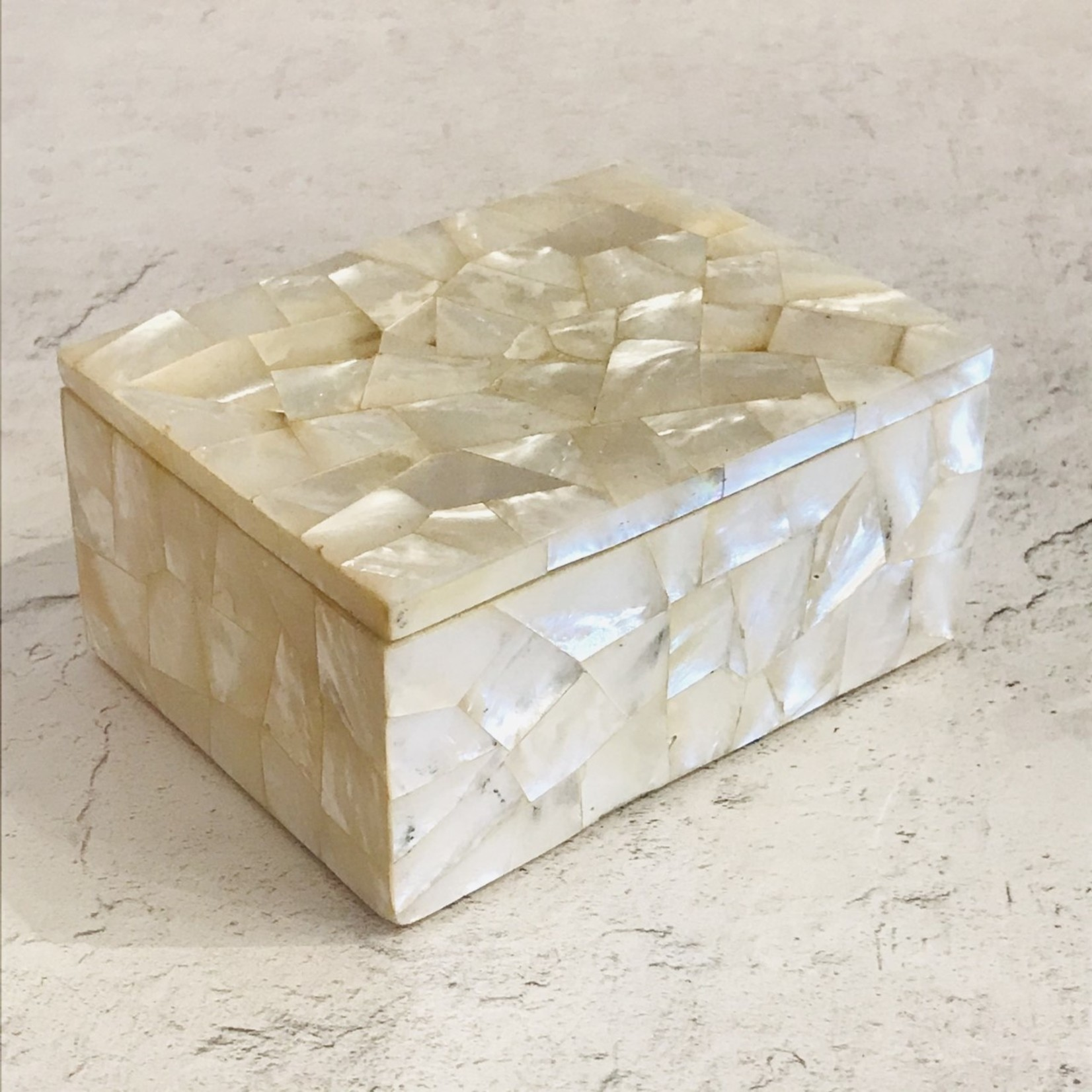 Market Large Rectangle Marble-Mother of Pearl-Inlay Box