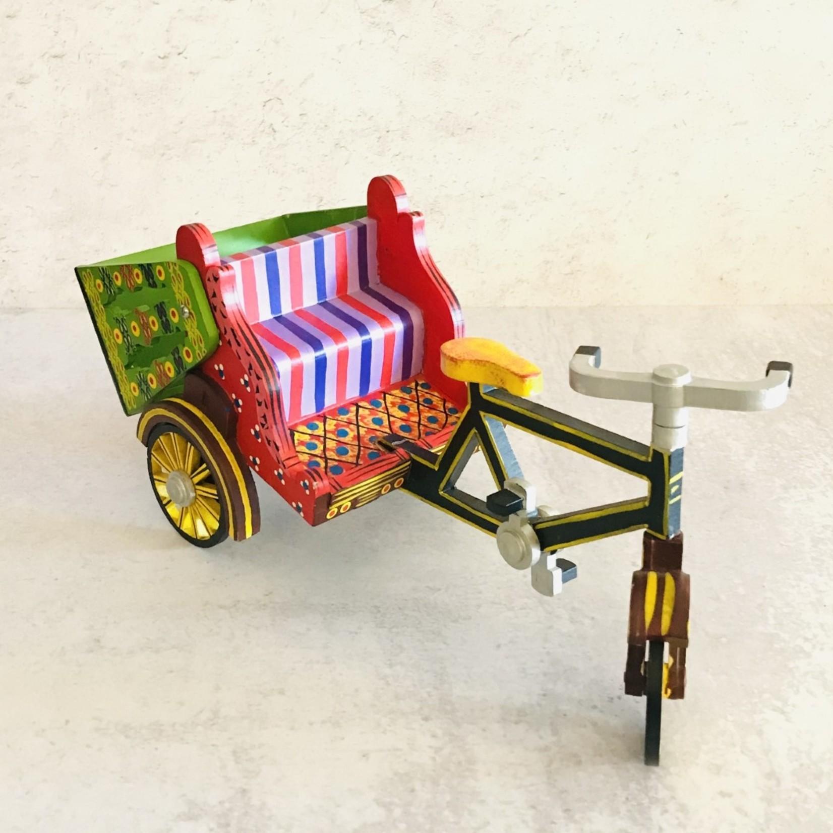 Market Wooden Toy Bicycle Rickshaw