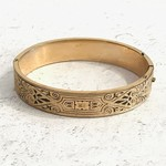 Vintage Art Deco Hinge Bangle- 10k Gold Filled