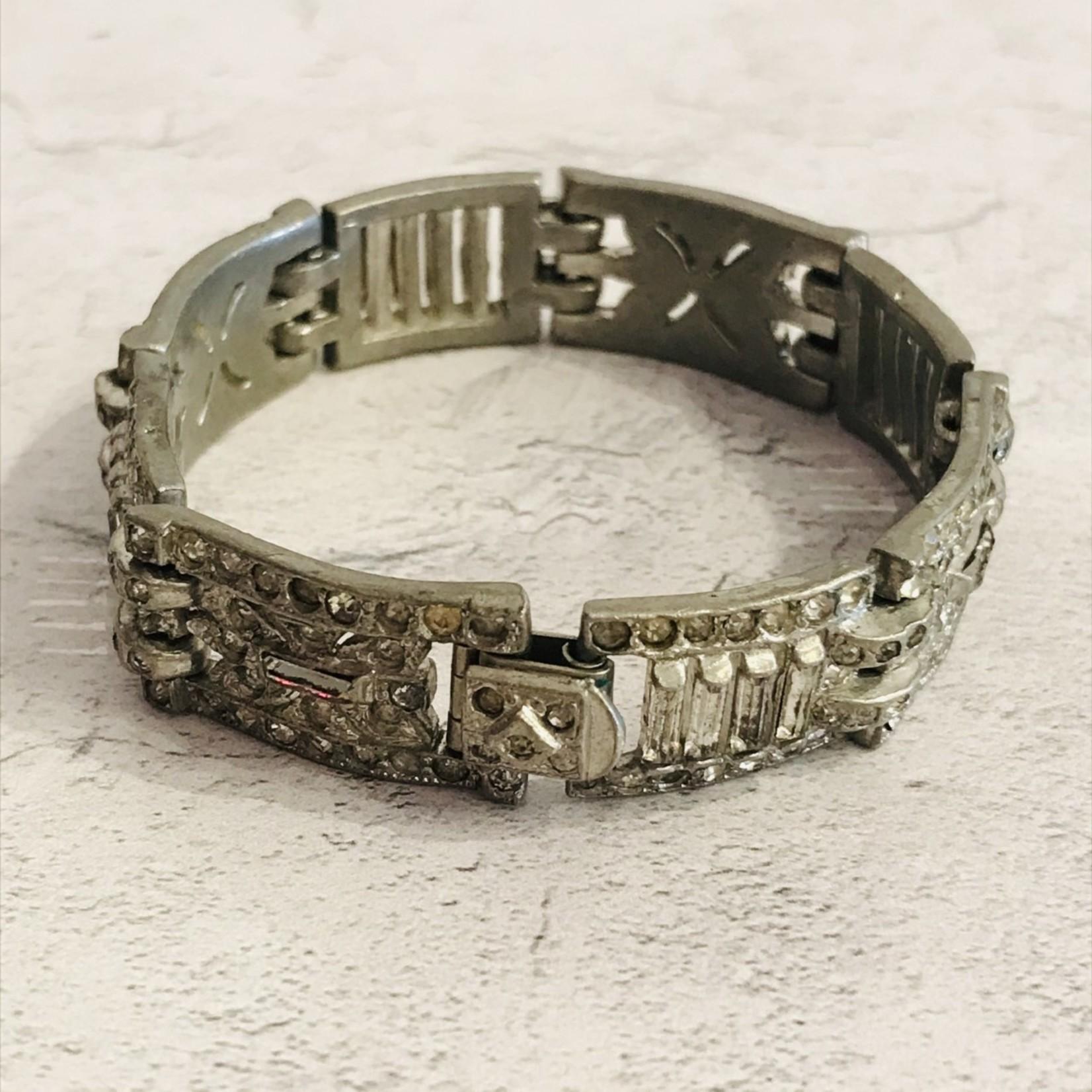 Vintage Art Deco Bracelet with Baguette Crystals