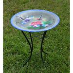 """18"""" Glass Bird Bath w Stand - Dragonfly Trio"""