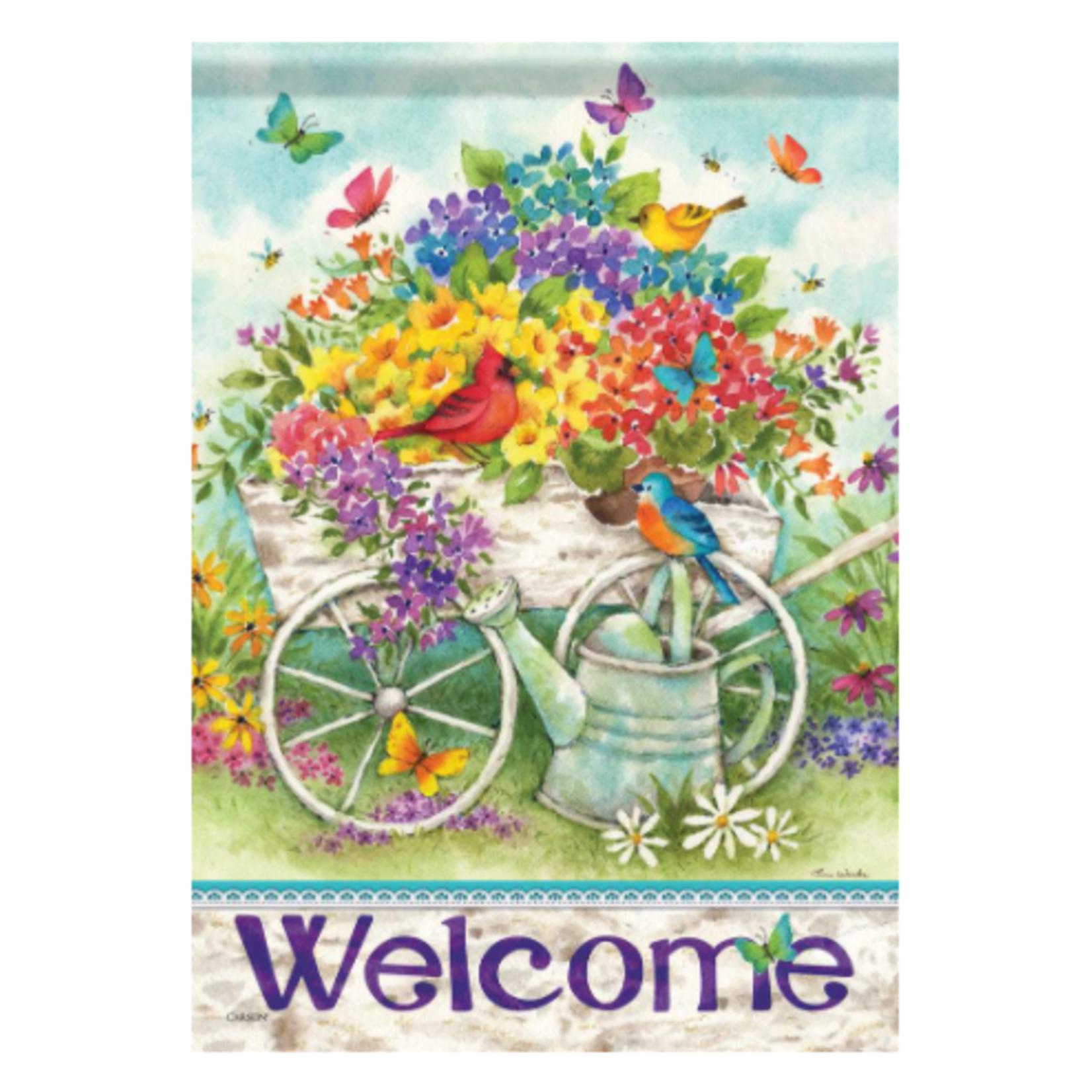 Garden Flag - Garden Flower Cart