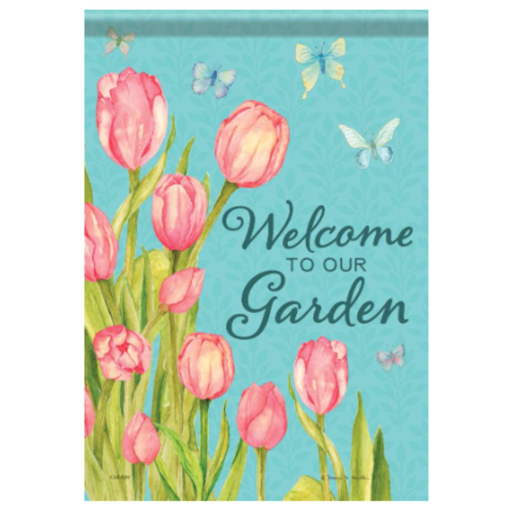 Garden Flag - Tulips & Butterflies
