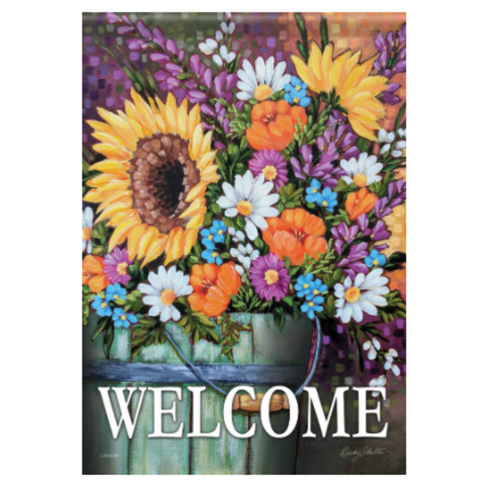 Garden Flag - Wildflower Bucket