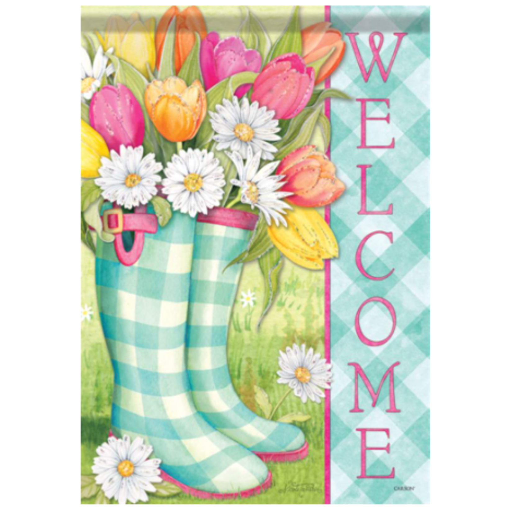 Glitter Garden Flag - Spring Boots