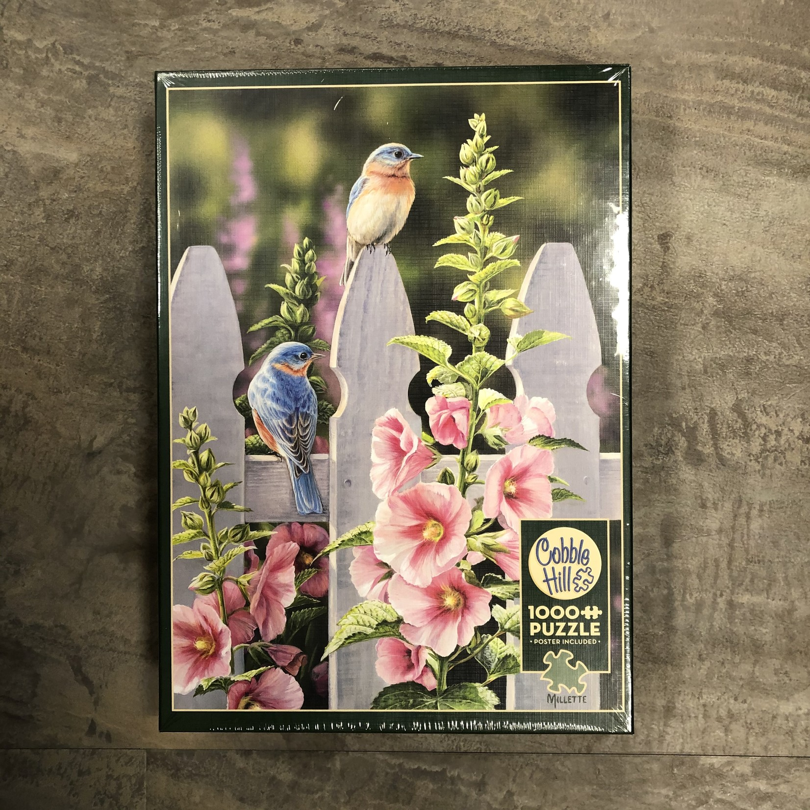 Cobble Hill Puzzles Bluebirds & Hollyhocks - 1000 pc Puzzle