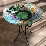 "16"" Glass Bird Bath w Stand - Harvest Succulents"