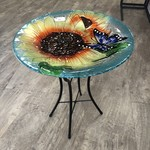 "18"" Glass Bird Bath w Stand - Blooming Sunflower"