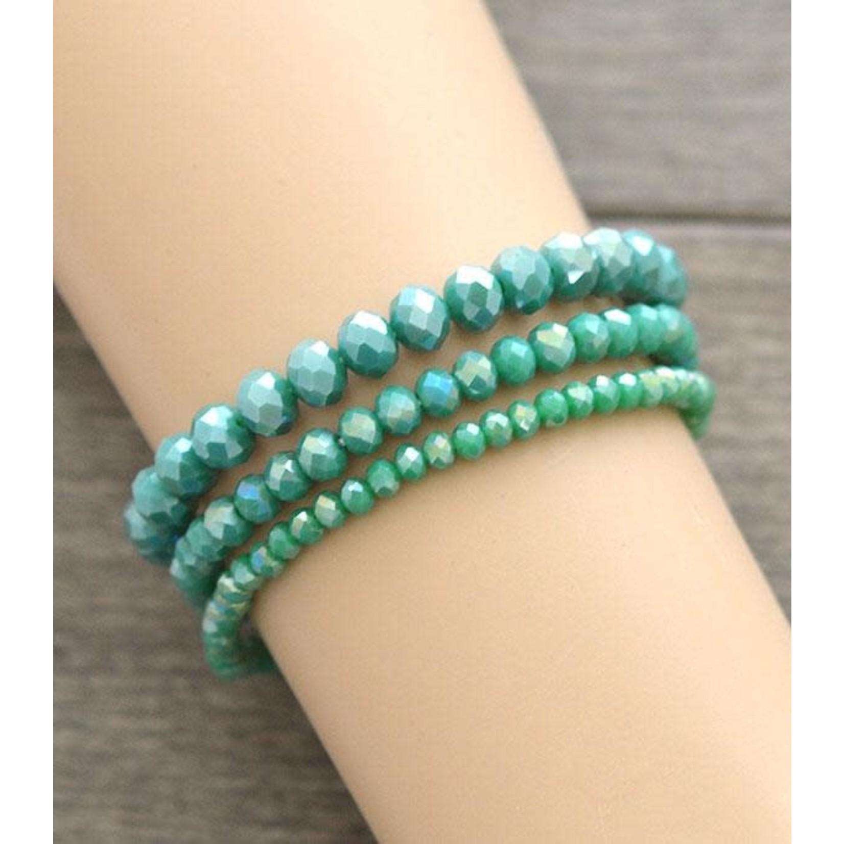 Encour Culture 3 Piece Crystal Bead Bracelet