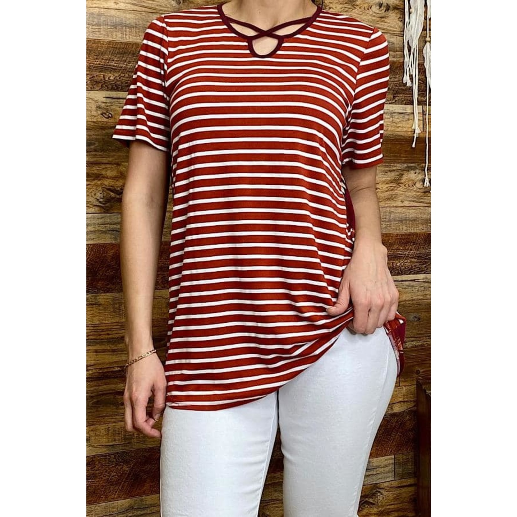 Burgundy Striped Top w/Feather