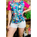 Southern Stitch Cactus/Floral Print w/Pink Sleeve