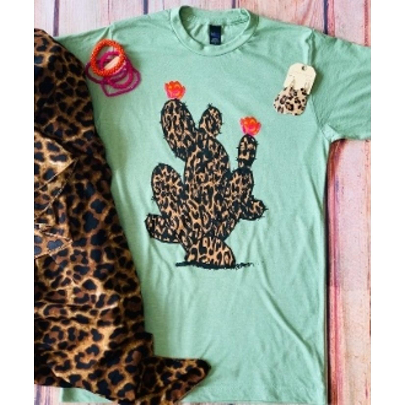 Sage Leopard Cactus Tee