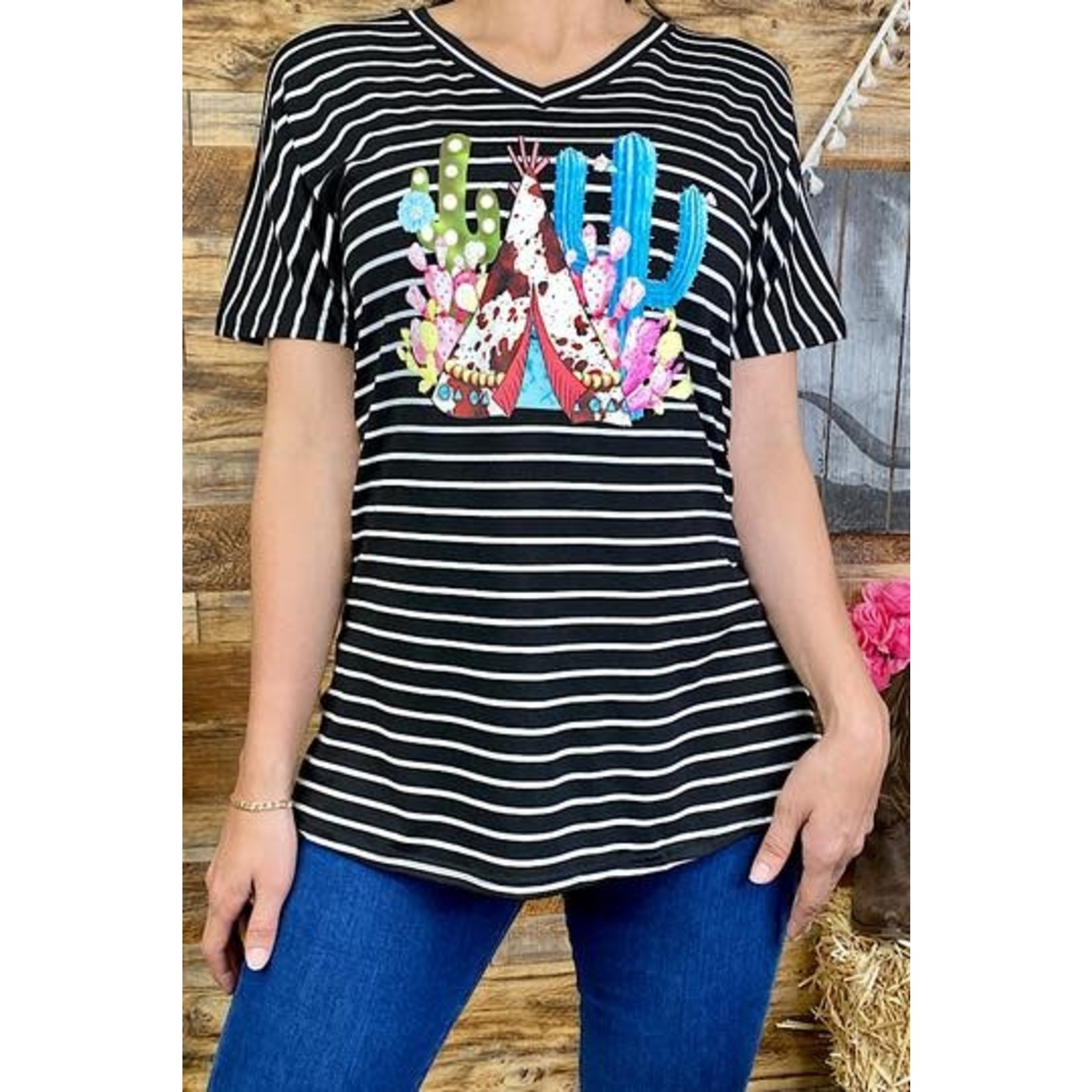 Southern Stitch Black/White Striped Cactus TeePee Top
