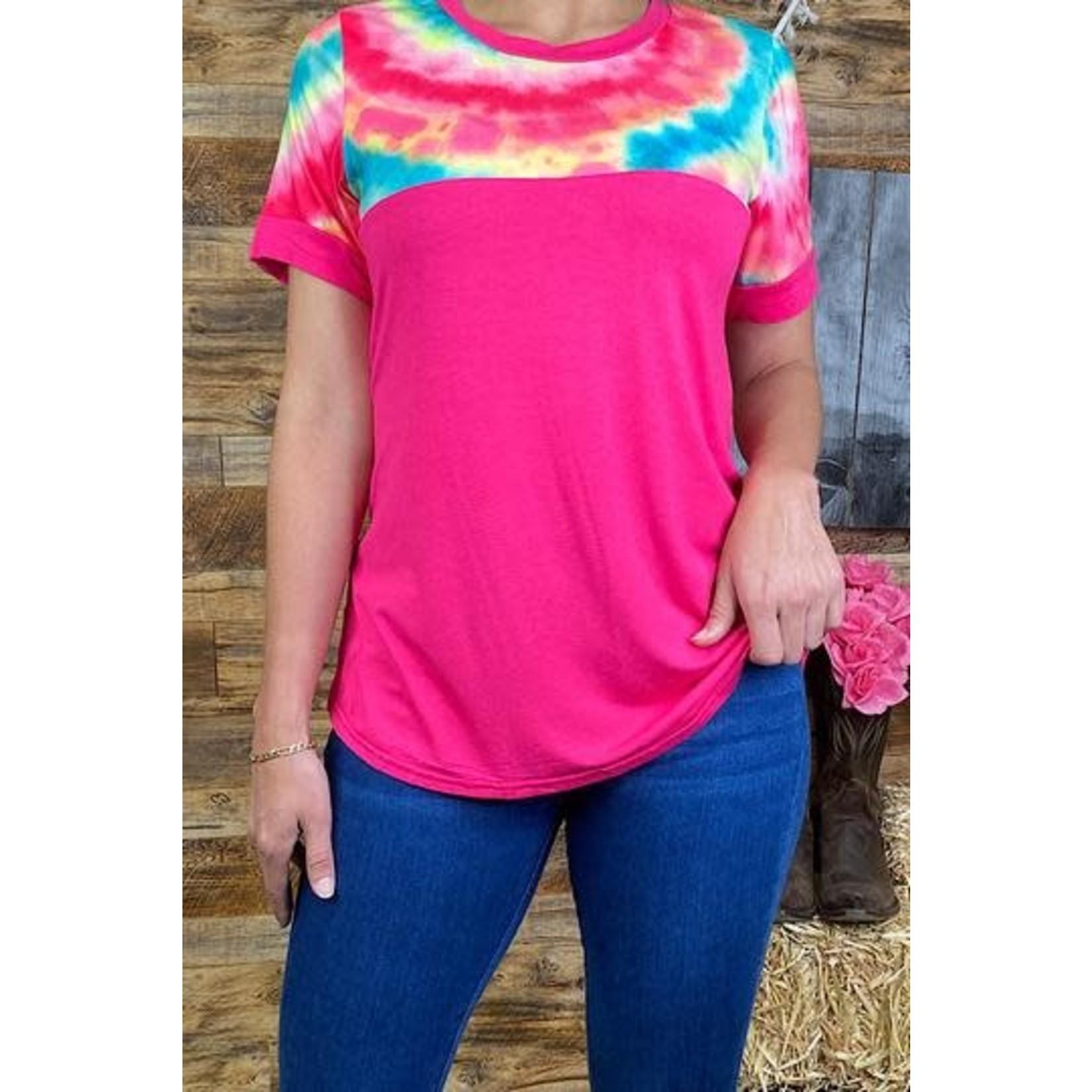 Southern Stitch Pink Tie Dye Top