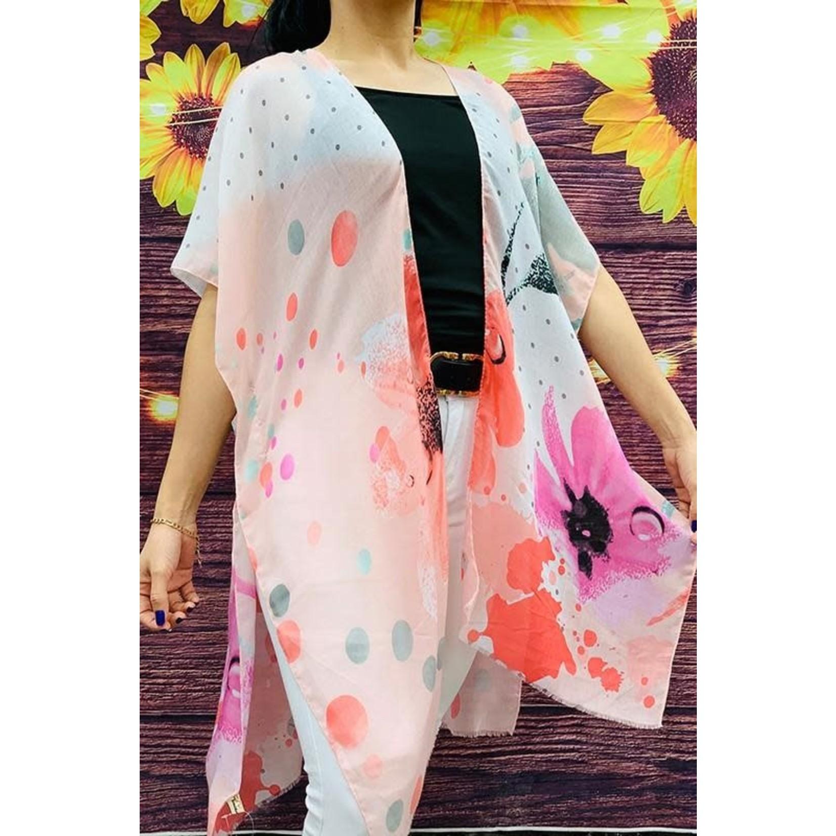 Southern Stitch Pink Grey Floral Kimono