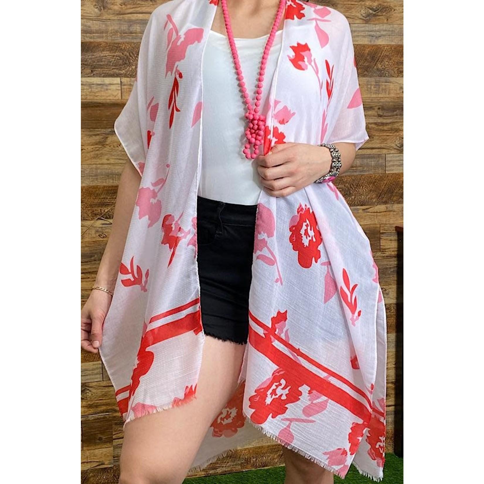 Southern Stitch Pink White Red Floral Kimono