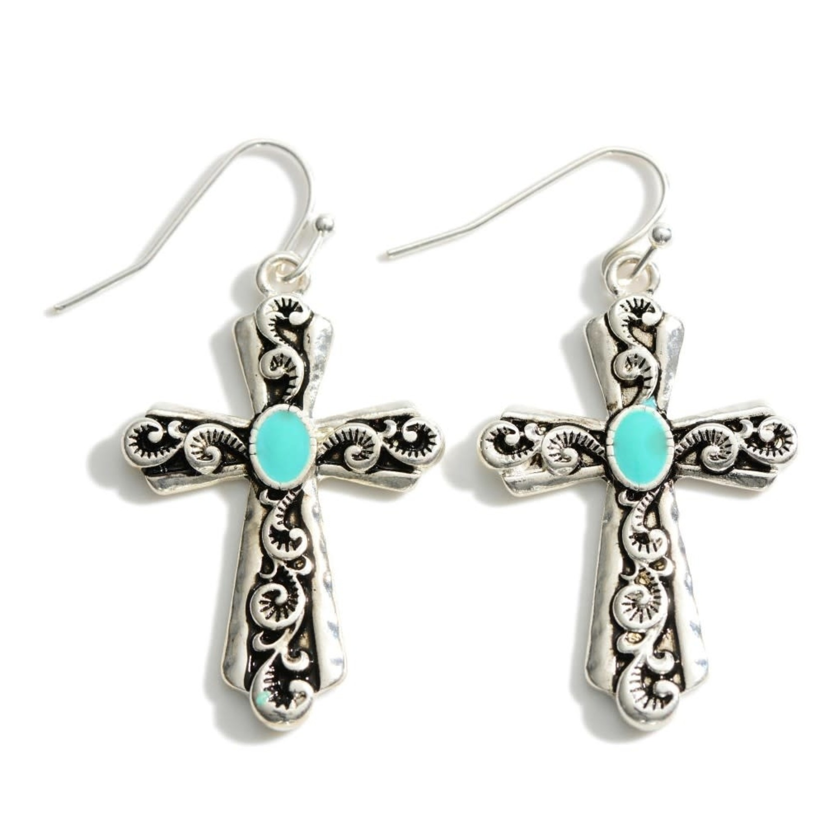 Silver Engraved w/Turquoise Accent Cross ER