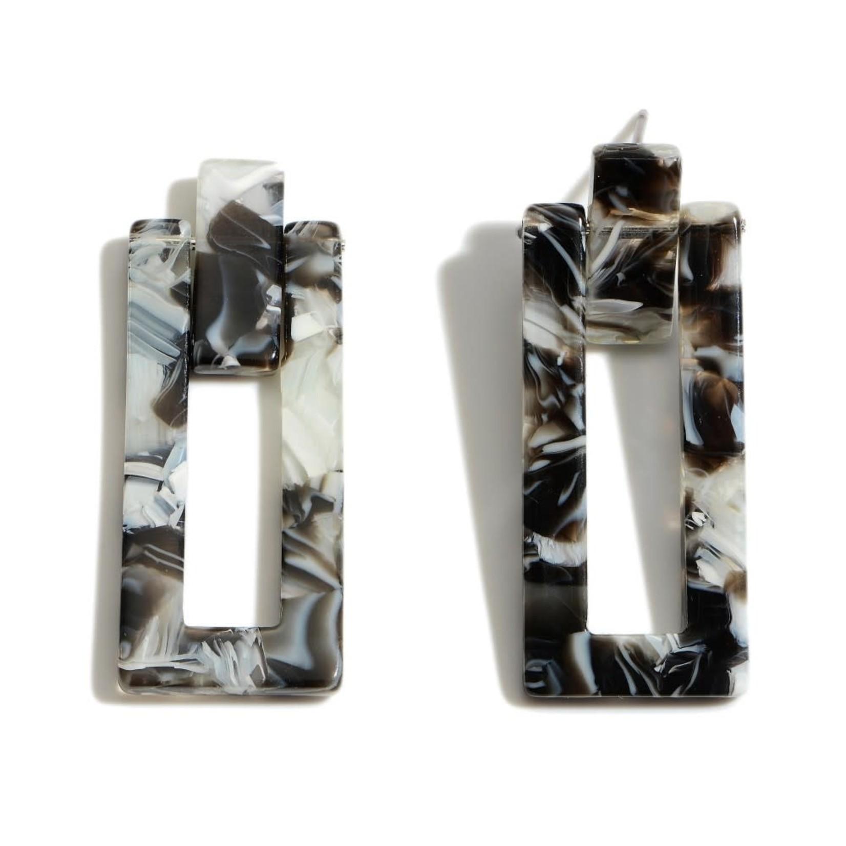 Black/White Resin Rectangle Drop