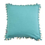 MM Linens TASSEL 2 TONE TEAL CUSHION