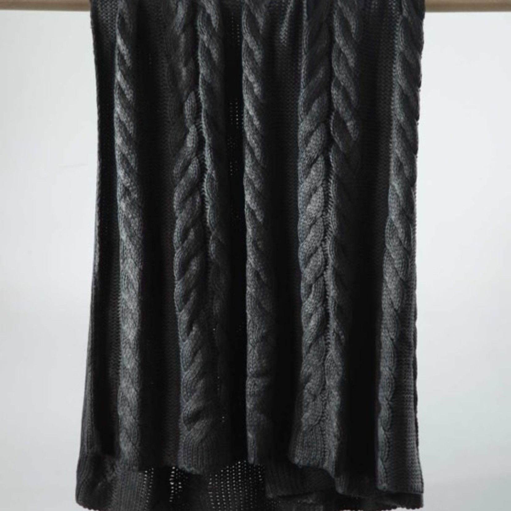 MM Linens GUERNSEY Throw Charcoal
