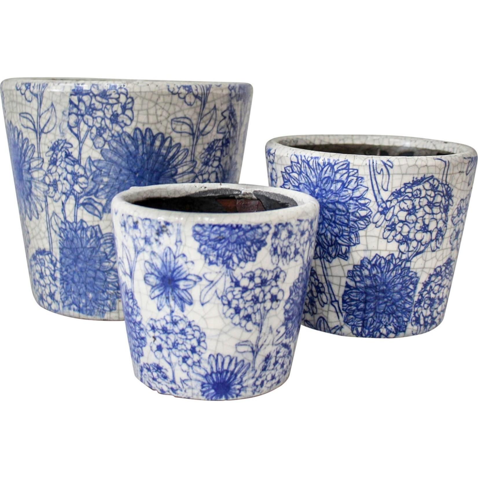 LaVida Pot S/3 Blue Flower